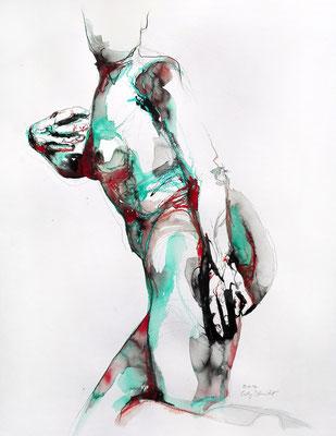 """Aktzeichnung """"Lydia"""", 65 x 50 cm, Mischtechnik auf Papier, 2017 (verkauft)"""