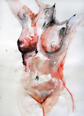 """Aktzeichnung """"Josephine"""", 70 x 50 cm, Mischtechnik auf Papier, 2015 (verkauft)"""