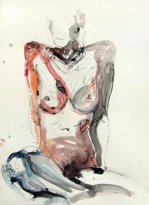 """Aktzeichnung """"Liv"""", 84 x 59 cm, Mischtechnik auf Papier, 2016"""