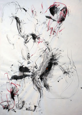 """""""AbstrAKT N° 5"""", DIN A 1, Mischtechnik auf Papier, 2009"""