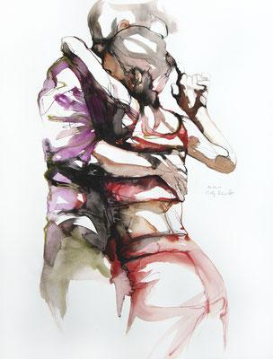 "Tangokunst ""Tangopaar N°33"", 65x50 cm, Mischtechnik auf Papier, 2019 (verkauft)"