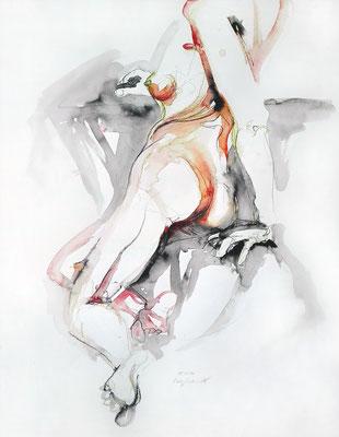 """Aktzeichnung """"Tilda"""", 65 x 50 cm, Mischtechnik auf Papier, 2017"""