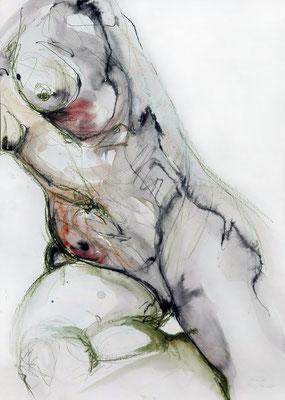 """Aktzeichnung """"Barbara"""", 70 x 50 cm, Mischtechnik auf Papier, 2017"""