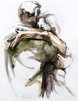 "Tangokunst ""Tangopaar N°56"", 65x50 cm, Mischtechnik auf Papier, 2021 (verkauft)"