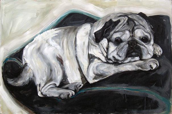 """""""Trudi auf Kissen"""", 130 x 170 cm,  Acryl auf Leinwand, 2019 (nicht verkäuflich)"""