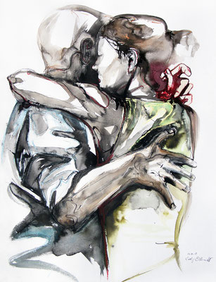 "Tangokunst ""Tangopaar N°17"", 65x50 cm, Mischtechnik auf Papier, 2019 (verkauft)"