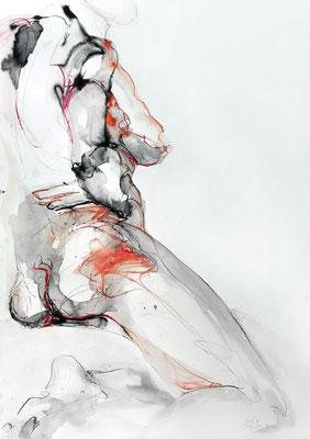 """Aktzeichnung """"Edda"""", 70 x 50 cm, Mischtechnik auf Papier, 2017"""