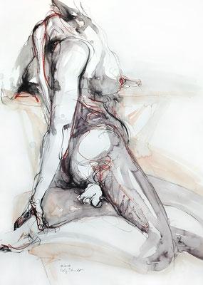 """Aktzeichnung """"Vivienne"""", 65 x 50 cm, Mischtechnik auf Papier, 2017"""
