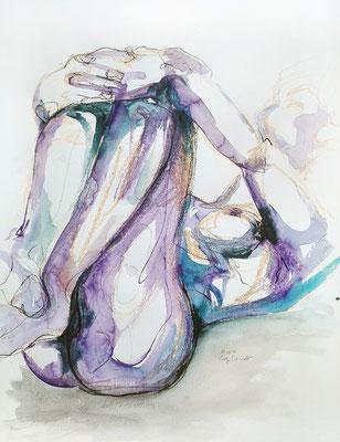 """Aktzeichnung """"Louise"""", 65 x 50 cm, Mischtechnik auf Papier, 2017"""