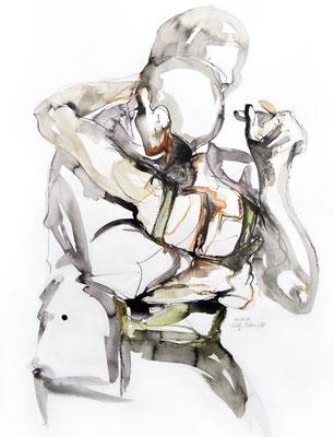 "Tangokunst ""Tangopaar N°12"", 65x50 cm, Mischtechnik auf Papier, 2019 (verkauft)"