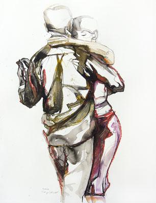 "Tangokunst ""Tangopaar N°48"", 65x50 cm, Mischtechnik auf Papier, 2021 (verkauft)"