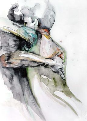 "Tangokunst ""Tangopaar N°6"", 70 x 50 cm, Mischtechnik auf Papier, 2017 (verkauft)"