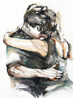 """Tangokunst """"Tangopaar N°74"""", 56x42 cm, Mischtechnik auf Papier, 2021"""
