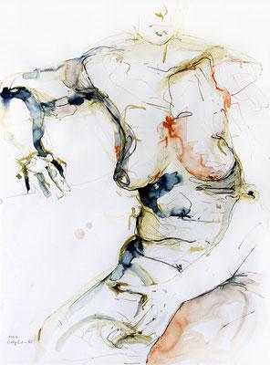 """Aktzeichnung """"Evita"""", 84,1 x 59,4 cm (DIN A1), Mischtechnik auf Papier, 2016"""