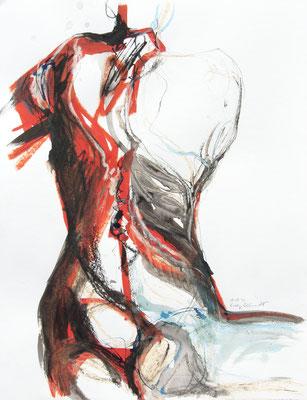 """Aktzeichnung """"Kali"""", 65 x 50 cm, Mischtechnik auf Papier, 2020"""