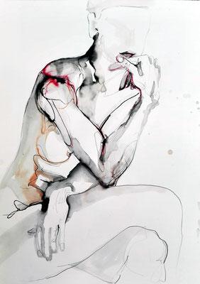 """Aktzeichnung """"Livia"""", 70 x 50 cm, Mischtechnik auf Papier, 2016"""