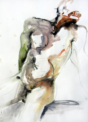 """Aktzeichnung """"Alex"""", 70 x 50 cm, Mischtechnik auf Papier, 2017"""