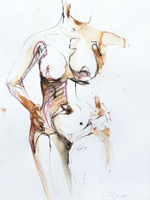 """Aktzeichnung """"Silvia"""", 65 x 50 cm, Mischtechnik auf Papier, 2020"""