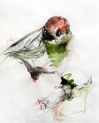 """""""Vogel 1"""", 70 x 50 cm, Mischtechnik auf Papier, 2015"""