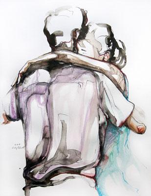 """Tangopaar N°38"", 65x50 cm, Mischtechnik auf Papier, 2019"