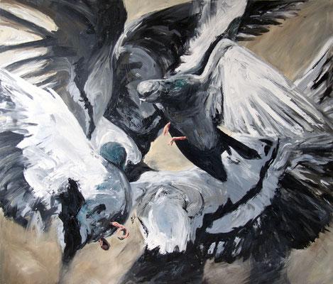 """Tauben"", 185 x 220 cm, Acryl auf Leinwand, 2015"