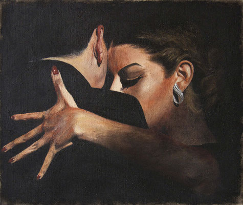 "Tangokunst ""Umarmung"", 50 x 60 cm, Acryl auf Leinwand, 2018 (verkauft)"