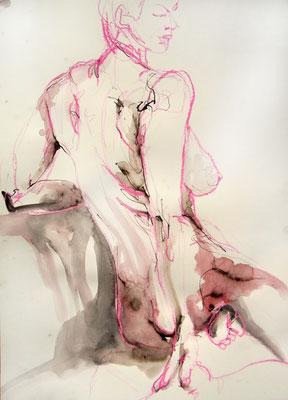 """Aktzeichnung """"Carmen"""", 70 x 50 cm, Mischtechnik auf Papier, 2016"""