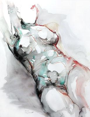 """Aktzeichnung """"Muriel"""", 65 x 50 cm, Mischtechnik auf Papier, 2017"""