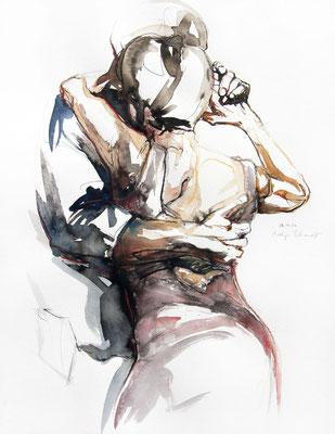 """Tangokunst """"Tangopaar N°64"""", 65x50 cm, Mischtechnik auf Papier, 2021"""
