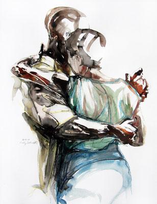 """Tangokunst """"Tangopaar N°40"""", 65x50 cm, Mischtechnik auf Papier, 2019"""