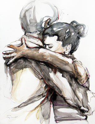 "Tangokunst ""Tangopaar N°50"", 65x50 cm, Mischtechnik auf Papier, 2021 (verkauft)"