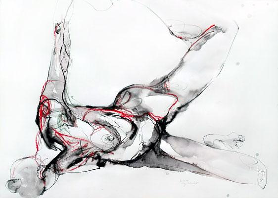 """Aktzeichnung """"Ava"""", 50 x 70 cm, Mischtechnik auf Papier, 2016"""