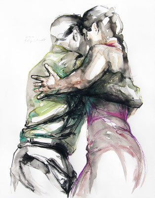 "Tangokunst ""Tangopaar N°70"", 65x50 cm, Mischtechnik auf Papier, 2021 (verkauft)"