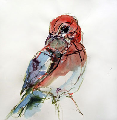 """Roter Vogel"", 40 x 40 cm, Mischtechnik auf Papier, 2015"