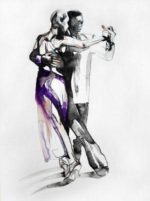 "Tangokunst ""Tangopaar N°4"", 47 x 35 cm, Mischtechnik auf Papier, 2018 (verkauft)"