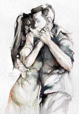 """Tangokunst """"Tangopaar N°66"""", 56x38 cm, Mischtechnik auf Papier, 2021"""