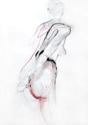 """Aktzeichnung """"Maren"""", 59 x 42 cm, Mischtechnik auf Papier, 2017"""