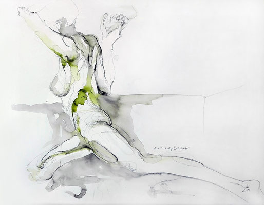 """""""Sia"""", 65 x 50 cm, Mischtechnik auf Papier, 2017"""
