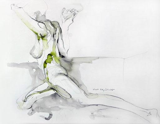 """Aktzeichnung """"Sia"""", 65 x 50 cm, Mischtechnik auf Papier, 2017"""