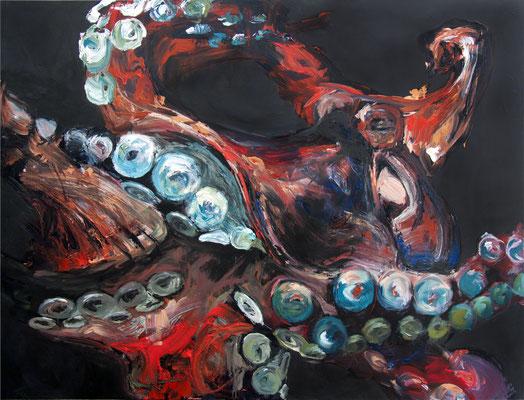 """Riesenkrake"", 150 x 200 cm, Acryl auf Leinwand, 2018"