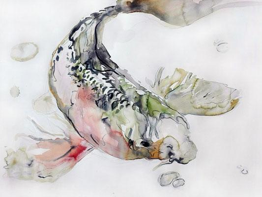 """""""Koi"""", 35 x 48 cm, Mischtechnik auf Papier, 2017"""