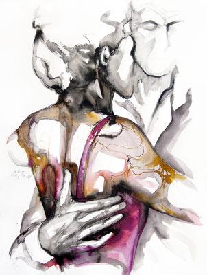 "Tangokunst ""Tangopaar N°25"", 65x50 cm, Mischtechnik auf Papier, 2019 (verkauft)"