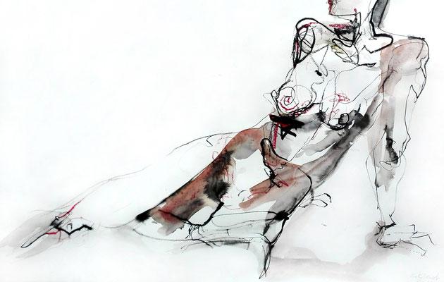 """Aktzeichnung """"Joleen"""", 43 x 63 cm, Mischtechnik auf Papier, 2017"""