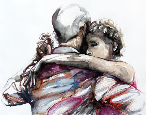 """Tangokunst """"Tangopaar N°75"""", 50x65 cm, Mischtechnik auf Papier, 2021"""