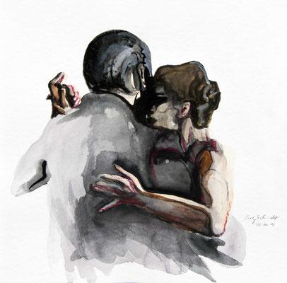 "Tangokunst ""Tangopaar N°2"", 36 x 36 cm, Mischtechnik auf Papier, 2018 (verkauft)"
