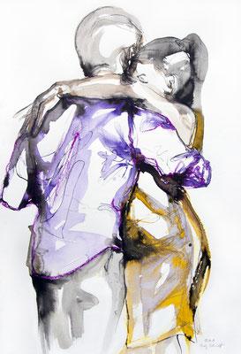 "Tangokunst ""Tangopaar N°14"", 62x42 cm, Mischtechnik auf Papier, 2019 (verkauft)"