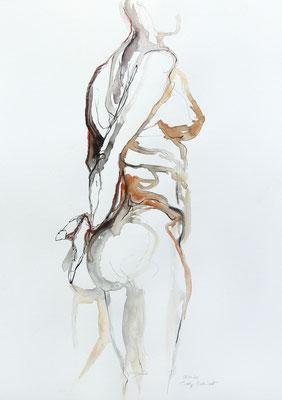 """Aktzeichnung """"Helena"""", 65 x 50 cm, Mischtechnik auf Papier, 2020"""