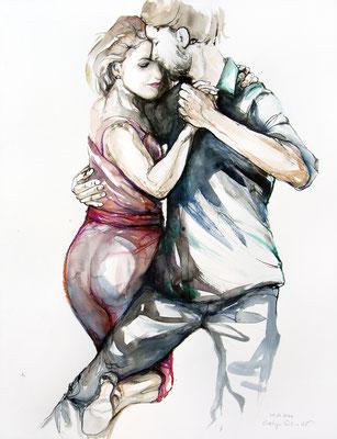 "Tangokunst ""Tangopaar N°72"", 65x50 cm, Mischtechnik auf Papier, 2021 (verkauft)"
