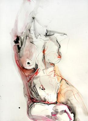 """Aktzeichnung """"Valentina"""", 65 x 50 cm, Mischtechnik auf Papier, 2016"""