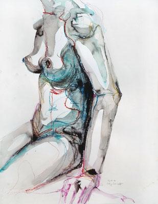 """Aktzeichnung """"Thelma"""", 65 x 50 cm, Mischtechnik auf Papier, 2017"""